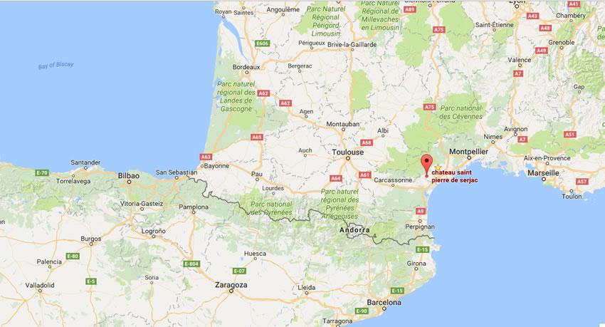 Château Saint Pierre de Serjac Location Map